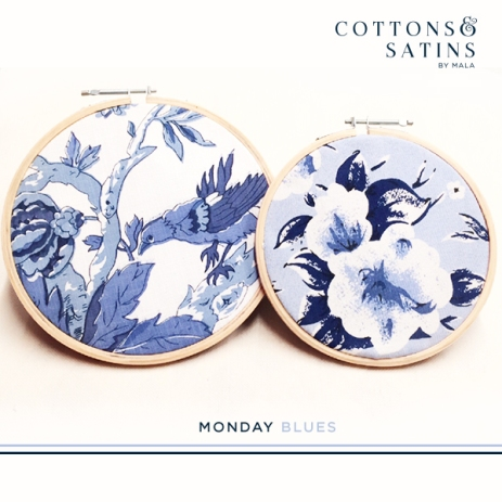 Fabrics from a flora & fauna inspired collection, in the iconic indigo blue.